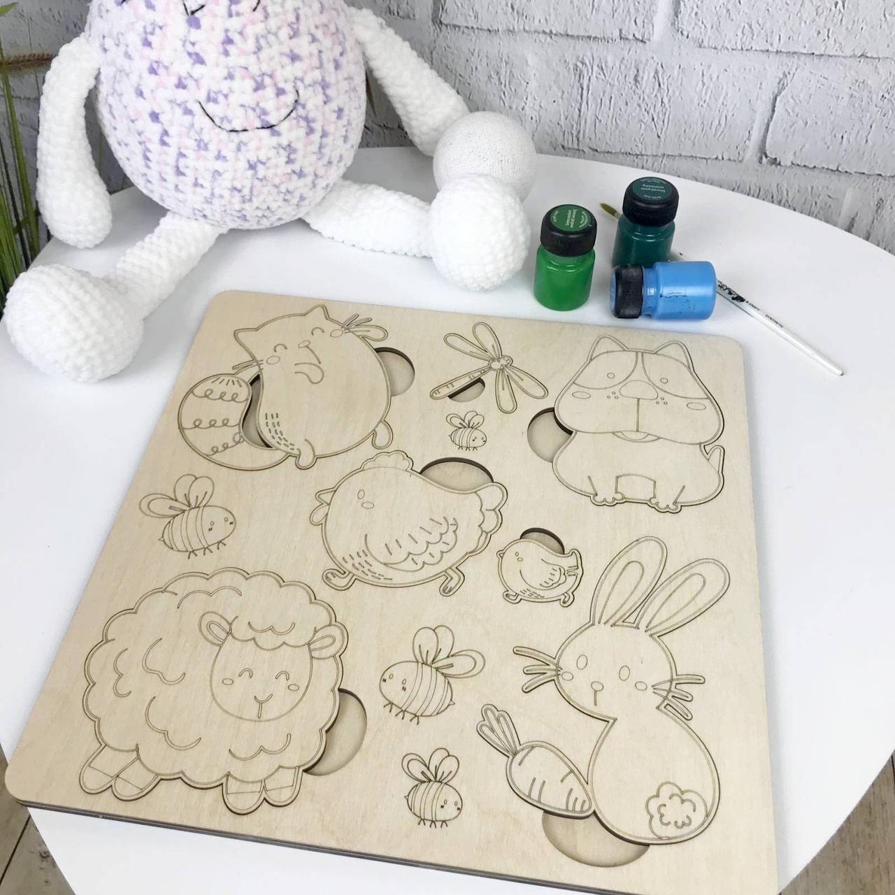 Деревянный сортер для детского развития «Забавные животные»