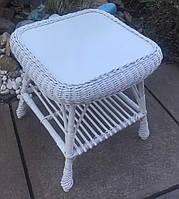 Белый стол плетеный журнальный | столик из лозы белый | стол плетёный из лозы крашеной