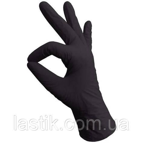 Перчатки нитриловые без пудры  (черные) L, фото 2