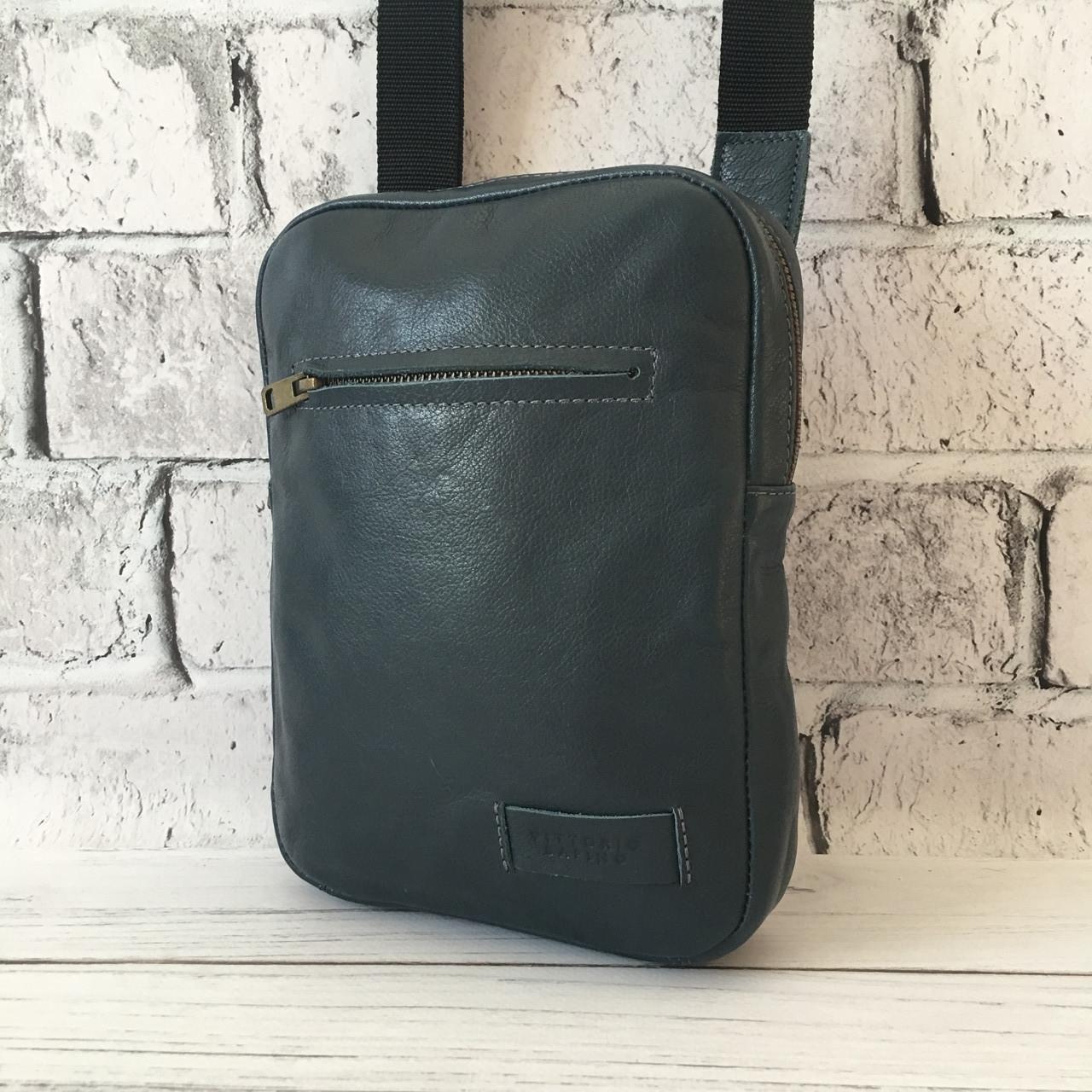 Мужская кожаная сумка Vittorio Safino барсетка, планшетка через плечо из натуральной кожи, Синяя VS 004