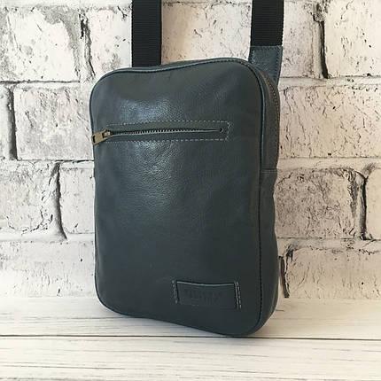 Мужская кожаная сумка Vittorio Safino барсетка, планшетка через плечо из натуральной кожи, Синяя VS 004, фото 2