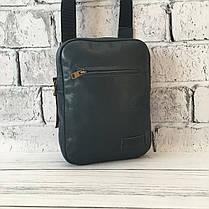 Мужская кожаная сумка Vittorio Safino барсетка, планшетка через плечо из натуральной кожи, Синяя VS 004, фото 3