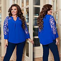 Жіноча блуза з креп-шифону та сітки з флоком, фото 1