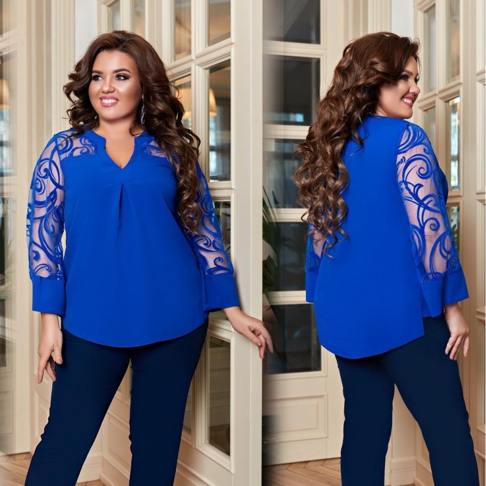 Жіноча блуза з креп-шифону та сітки з флоком