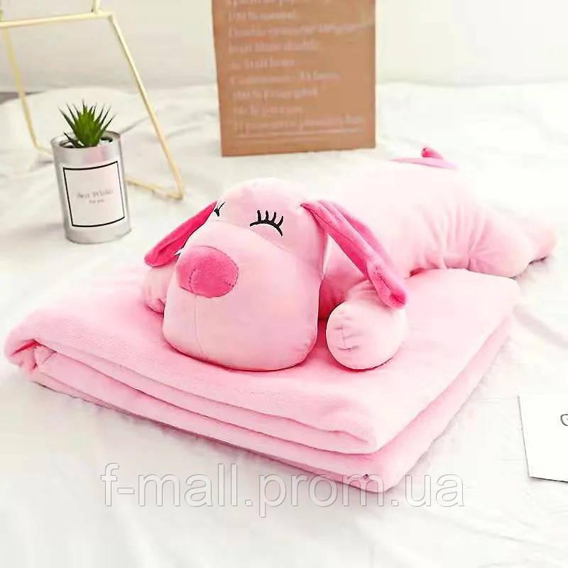 Плед мягкая игрушка 3 в 1 Собачка розовая  (37)