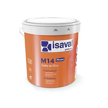 Краска акриловая  глубокоматовая для стен и потолков М-14 Пинмат ISAVAL 4л до 40м2/слой