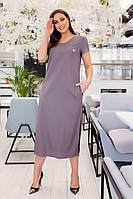 Женское льняное платье свободного кроя Размер 48 50 52 54 56 58 60 62  В наличии 6 цветов, фото 1
