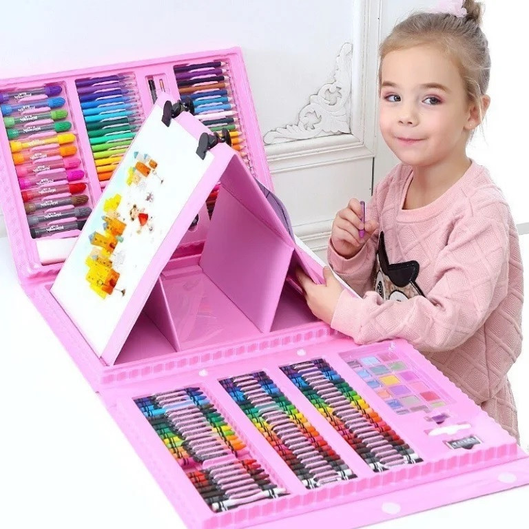 Дитячий набір для малювання 208 предметів у зручному кейсі з ручкою + Мольберт