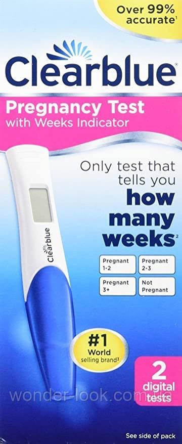 Clearblue цифровий Тест на раннє виявлення вагітності з індикатором тижнів 2 шт. Більше 99% надійності.