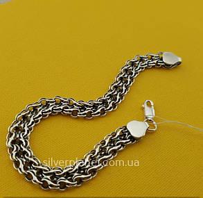 Серебряный браслет мужской. Ширина 9 мм. Плетение двойной ручеёк чернёное серебро 925. Длина 20 см