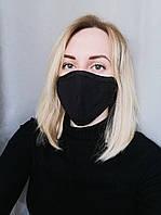 Маска защитная для лица черная трехслойная Atteks - 03703