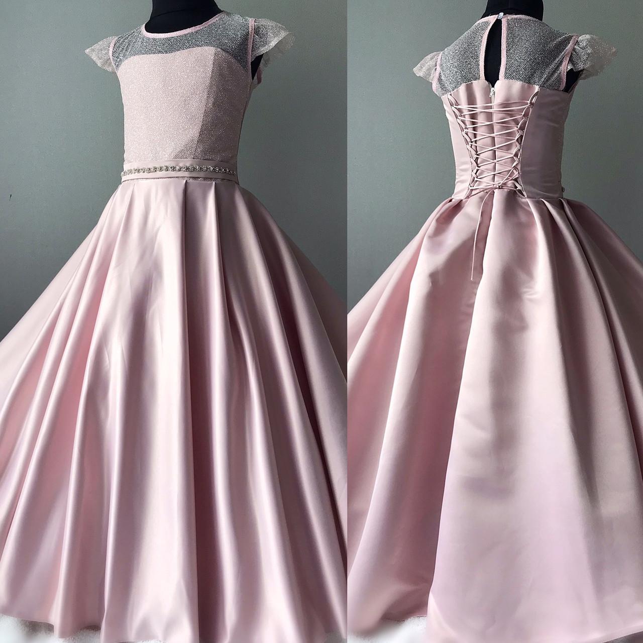 Детское атласное платье пудрового оттенка Размер 34