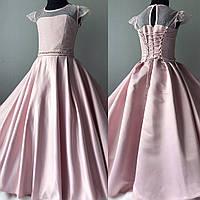 Детское атласное платье пудрового оттенка Размер 34, фото 1