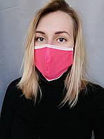 Маска защитная для лица розовая трехслойная Atteks - 03707