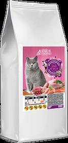 Сухой корм для взрослых котов Британской породы  HOME FOOD индейка-телятина (2 мяса) 3 кг