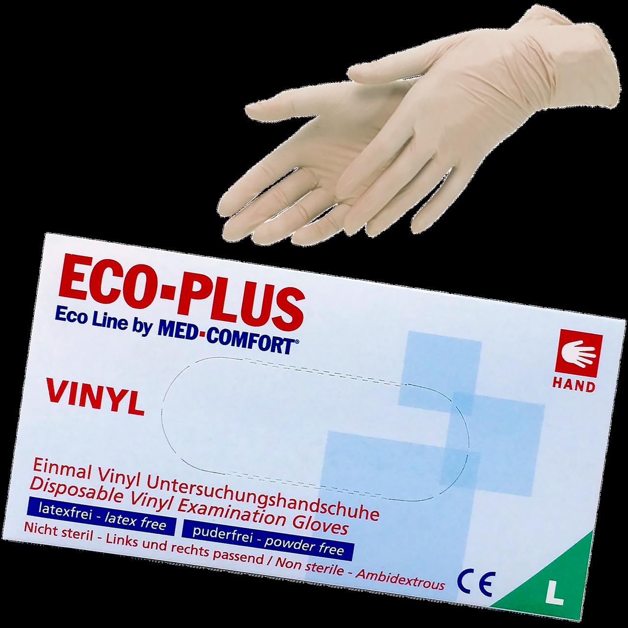 """Перчатки виниловые неопудренные L """"Eco Plus"""" 1уп/100шт"""