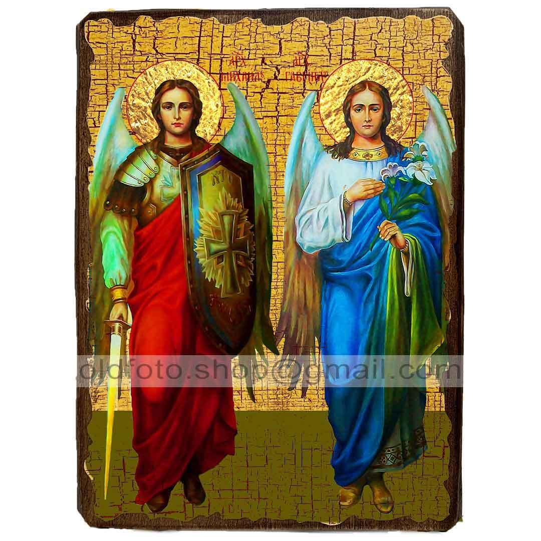 Икона Михаил и Гавриил Архангелы ,икона на дереве 130х170 мм