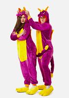 Пижама Кигуруми Дракон фиолетовый для детей от 145 см и взрослых, женская и мужская из качественного велсофта