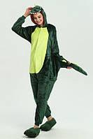 Пижама Кигуруми Дракон зеленый для детей от 120 см и взрослых, женская и мужская из качественного велсофта
