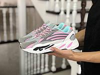 Женские кроссовки Adidas Yeezy Boost 700, серые с розовым