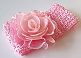 Повязка на голову детская красивая роза, розовая, фото 2
