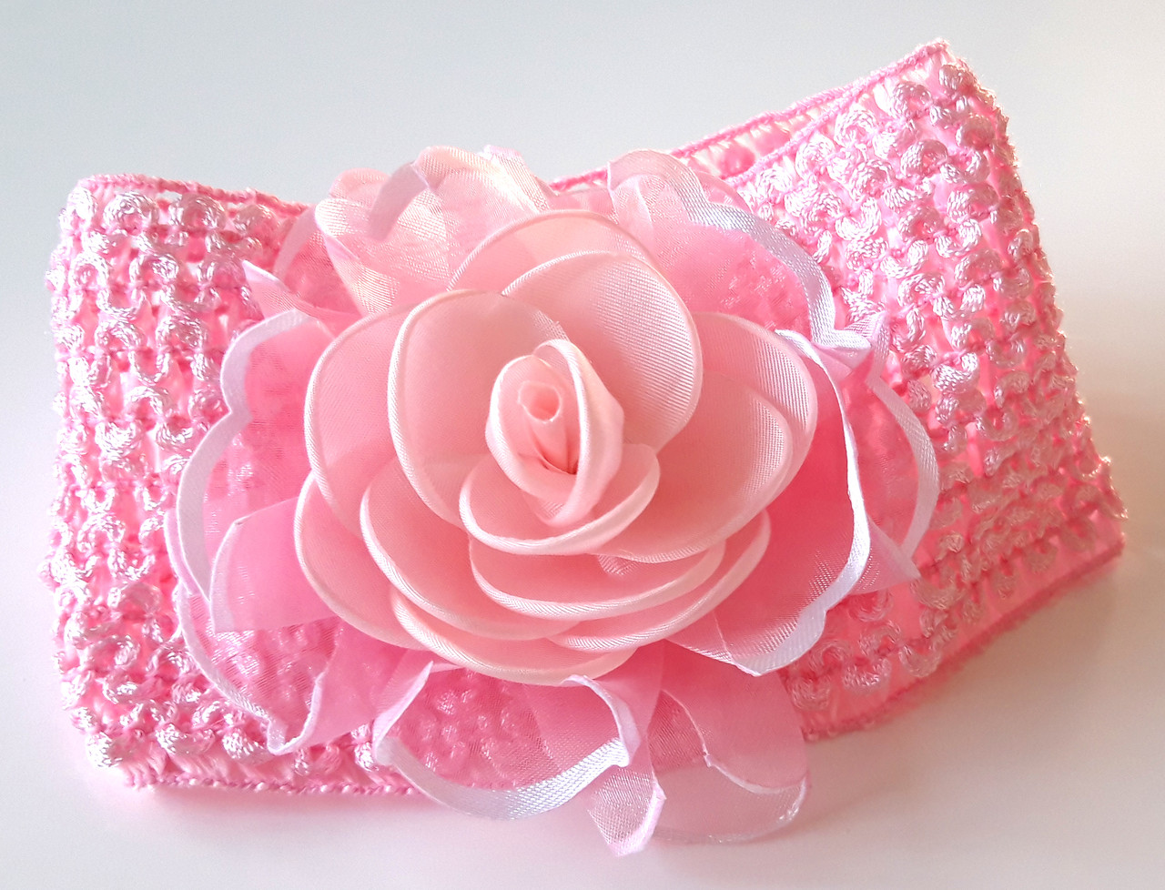 Повязка на голову детская красивая роза, розовая