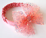Повязка на голову детская с большим бантом, бледно коралловая, фото 2