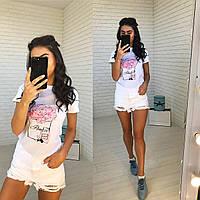 Красивая футболка женская белая с рисунком, фото 1
