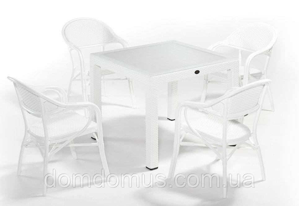 """Комплект садових меблів """"NIRVANA FOR 4"""" (стіл 90*90 +4 крісла) Novussi, Туреччина"""