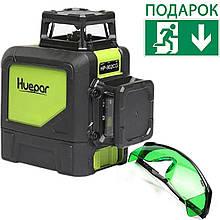 Лазерный уровень нивелир 360 8 линий Huepar 902CG Зеленый луч + Магнитный кронштейн + Очки