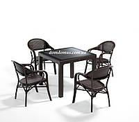 """Комплект садовой мебели """"NIRVANA FOR 4""""   (стол 90*90 +4 кресла) Novussi, Турция коричневый"""