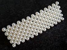 Заколка с жемчугом тик так прямоугольная 6,5х2,5см серебристая