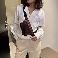 Модная Женская поясная сумка на пояс банана кожа крокодила в стиле рептилии