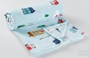 Мягкий  плюшевый флисовый    плед   голубого  цвета  с  лыжниками   Мatalan   Англия