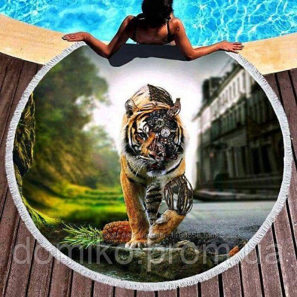Коврик для пляжа круглый, подстилка Тигр с бахромой