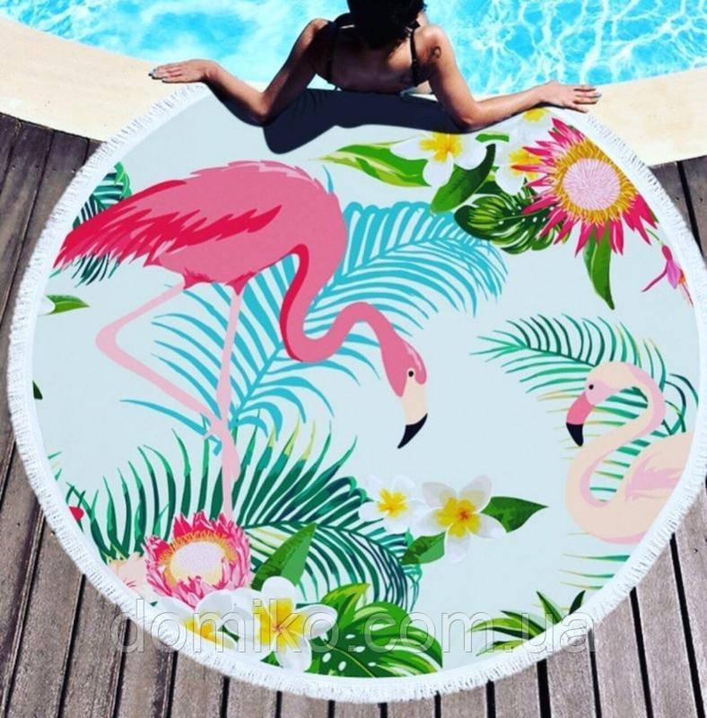 Коврик для пляжа круглый. Подстилка Тропикана с бахромой