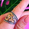 Срібний комплект Графиня: кільце і сережки зі срібла з позолотою, фото 9