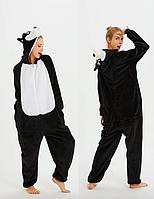 Пижама Кигуруми Черный Хаски для детей от 145 см и взрослых, женская и мужская из качественного велсофта