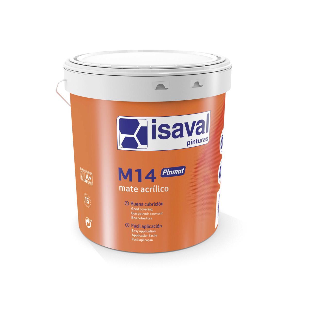 Фарба акрилова глибокоматова для стін і стель М-14 Пинмат ISAVAL 15л до 150м2/шар
