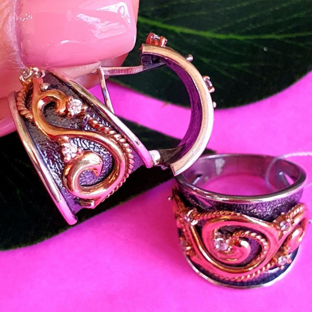 Срібний комплект Графиня: кільце і сережки зі срібла з позолотою