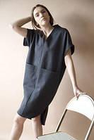 Сукня туніка з великими кишенями з льону , колір в асортименті розмір 40-72+