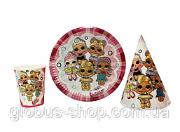 Набор детской бумажной посуды  LOL 5 девочек