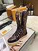 Высокие коричневые ботинки Louis Vuitton монограмм на шнуровке, фото 3