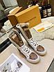 Высокие бело-коричневые ботинки Louis Vuitton на шнуровке, фото 3