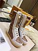 Высокие бело-коричневые ботинки Louis Vuitton на шнуровке, фото 4