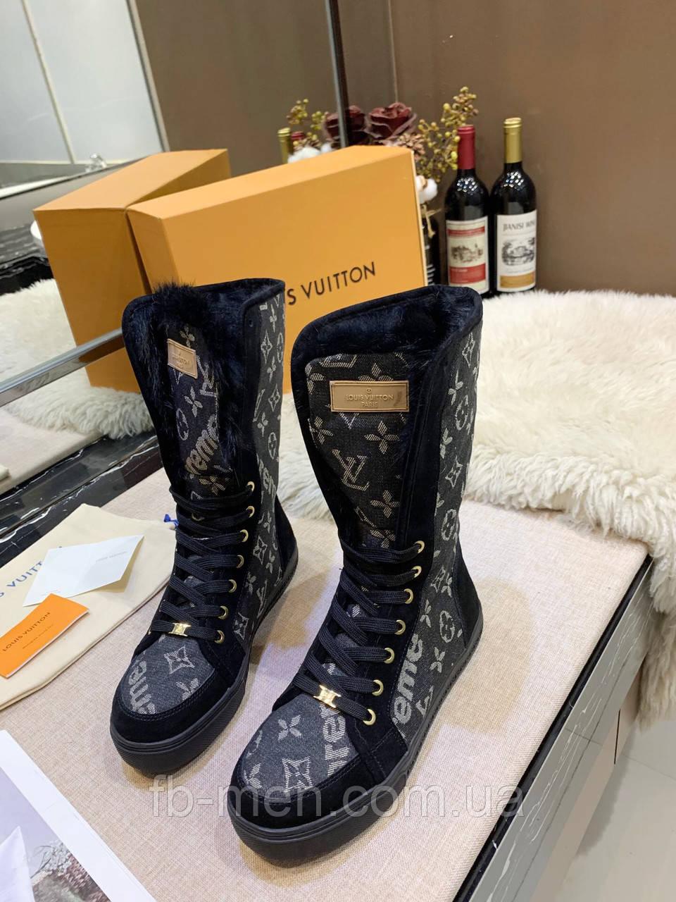 Высокие черные ботинки Louis Вюиттон монограмм на шнуровке