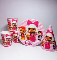 Набір дитячої паперової посуду LOL 4 дівчаток