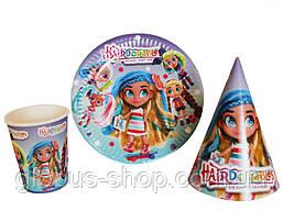 Набір дитячої паперової посуду Hairdorables