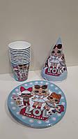 Набір дитячої паперової посуду Лол на блакитному тлі