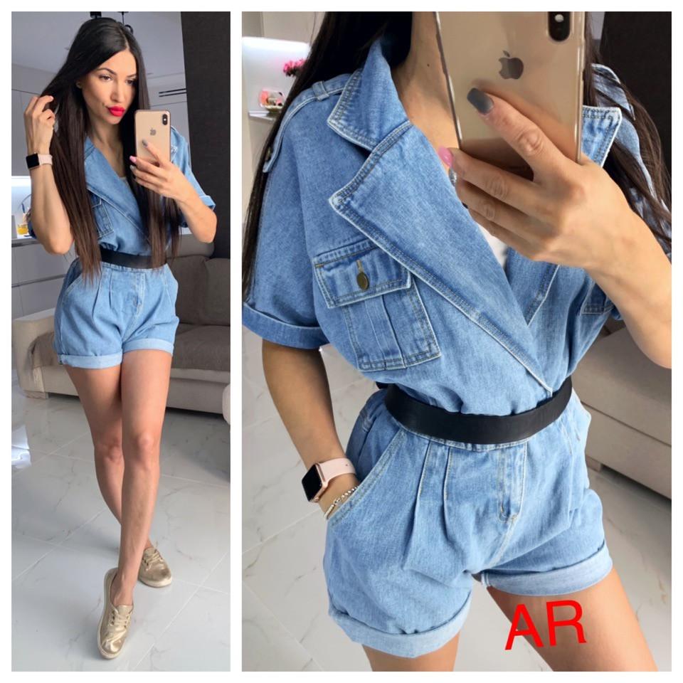 Женский модный джинсовый комбинезон с шортами,голубого цвета